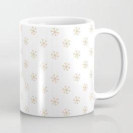 Tan Brown on White Snowflakes Coffee Mug