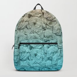 Turquoise Blue Ombre Book Flowers Backpack