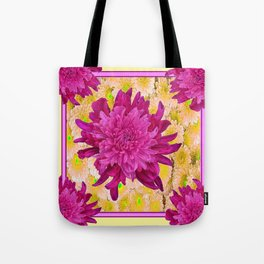 Styalized Art Purple & Yellow Chrysanthemums Floral Garden Tote Bag