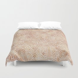 Iced coffee and white swirls doodles Duvet Cover
