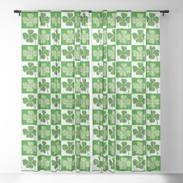 clover shamrock st patricks day Sheer Curtain