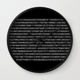 1000 Digits of Pi (Black) Wall Clock