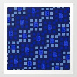 Letter B Square Pattern Art Print