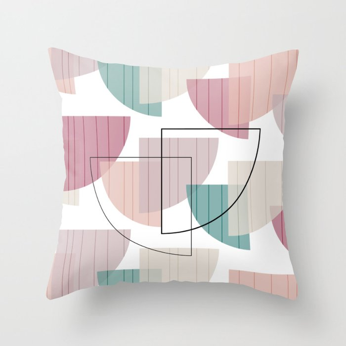 Mid Century Modern Colorful Throw Pillow