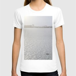 Lonely Boat in Key Biscayne, Miami, With the City as Background T-shirt