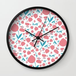 Cup Flowers Wall Clock