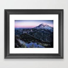 Mountain and Full Moon Framed Art Print
