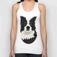 border collie Tank Tops featuring Beautiful Border Collie by ArtLovePassion