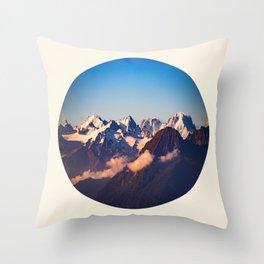 Himalayan Snow Mountains Round Photo Throw Pillow