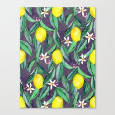 When Life Gives You Lemons - grey purple Canvas Print