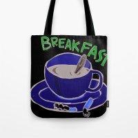 breakfast Tote Bags featuring BREAKFAST by Gianluca Floris