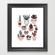 Mid-Century Modern Cacti  Framed Art Print