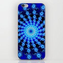 """Blue Sun"" Spiral Fractal Art Print iPhone Skin"