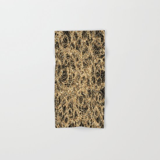Gold Thread on Black | Abstract Brain Map 3 Hand & Bath Towel