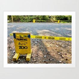Polar Bear Zoo Rona Closed Parking Police Caution Tape Art Print
