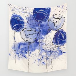 Blue and White Splotch Flowers Wall Tapestry