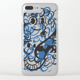 Happy doodle do! Blue version Clear iPhone Case