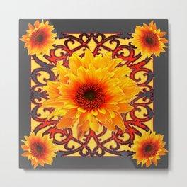 Charcoal Grey Red Sunflowers Pattern Art Metal Print