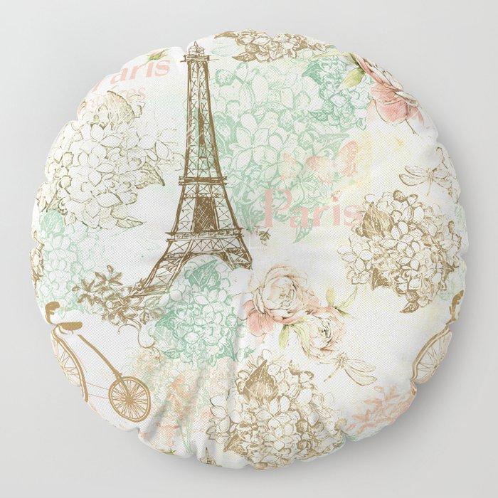 I love Paris - Vintage Shabby Chic - Eiffeltower France Flowers Floral Floor Pillow