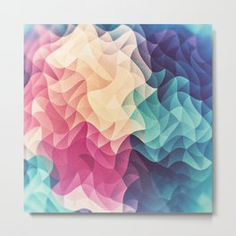 Geometry Triangle Wave Multicolor Mosaic Pattern - (HDR - Low Poly Art) - FULL Metal Print