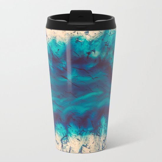 Blue Agate River of Earth Metal Travel Mug