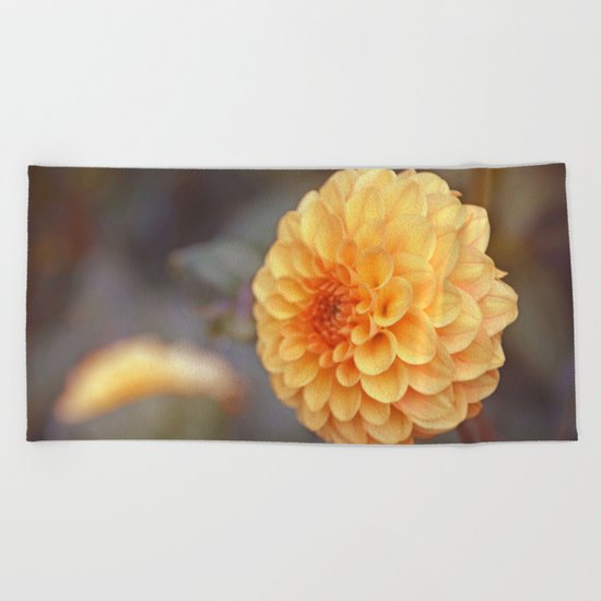 Shiny Yellow Sweet Pixie Dahlia Beach Towel