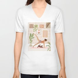 Yoga Girl Power with cat & plants Unisex V-Neck