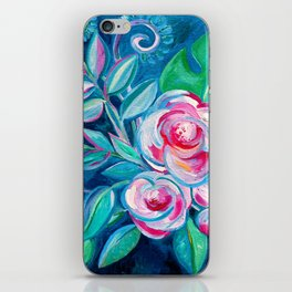 Tropical Camellia Extravaganza - oil on canvas iPhone Skin