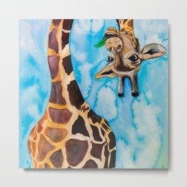 friendly giraffe Metal Print