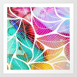 Ink Colored Leaves On White Art Print