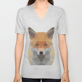 Fox Abstract Low Poly Unisex V-Neck