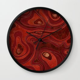 Marble Map -Deep Reds and Gold Wall Clock