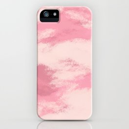 Hand painted mauve pink ivory watercolor clouds iPhone Case