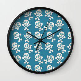 Blue seamless background. Skull and bones. Pirates. Wall Clock