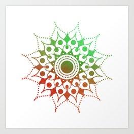 Mandala #1 (Green Red) Art Print