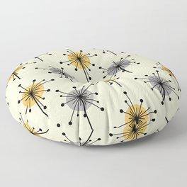 Midcentury Sputnik Starburst Flowers Yellow Gray Floor Pillow