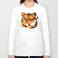 tigers Long Sleeve T-shirts featuring 2 Tigers by Chawalit Jitsanorh