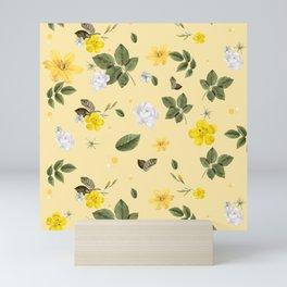 Yellow Flowers & White Roses 5 Mini Art Print