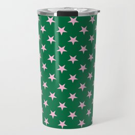 Cotton Candy Pink on Cadmium Green Stars Travel Mug