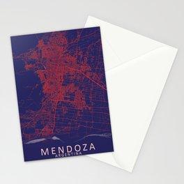 Mendoza, Argentina, Blue, White, City, Map Stationery Cards