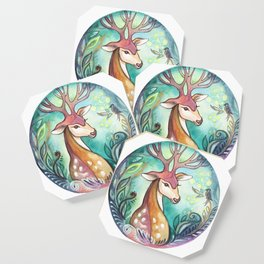 decorative drawing of a deer Coaster