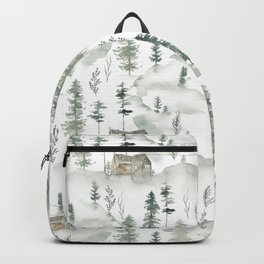 Hand painted brown forest green watercolor wood cabin trees Backpack