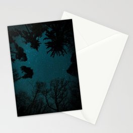 Tall Forest Trees Under a Starry Sky Stationery Cards
