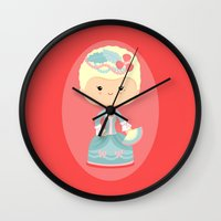 marie antoinette Wall Clocks featuring Marie Antoinette by Sombras Blancas Art & Design