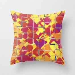 Squares Red & Yellow Abstract Throw Pillow