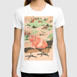 Farm Animals in Chairs #3 Pig T-shirt