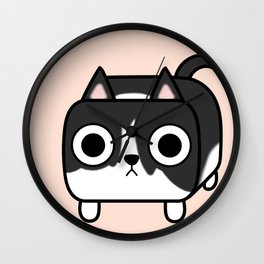 Cat Loaf - Tuxedo Kitty - Black and White Wall Clock