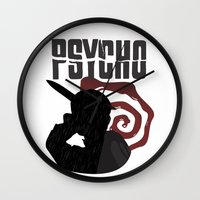 psycho Wall Clocks featuring Psycho by Vickn