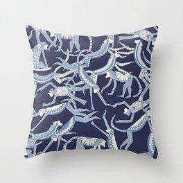 monkey blue Throw Pillow