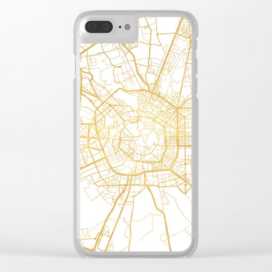 MILAN ITALY CITY STREET MAP ART Clear iPhone Case